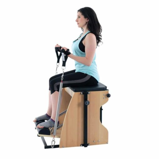 La dernière version de la Combo Chair de Align-Pilates: la Combo Chair II qui offre plus de fonctionnalités que jamais pour vous permettre d'étendre et de varier vos possibilités d'exercices!
