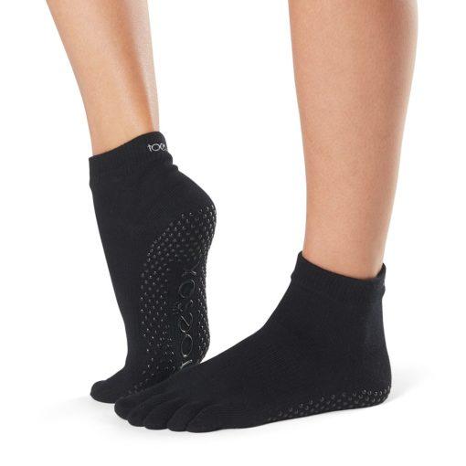 chaussettes antidérapantes à orteils séparés Toesox Full Toe Anke Black - Toesox