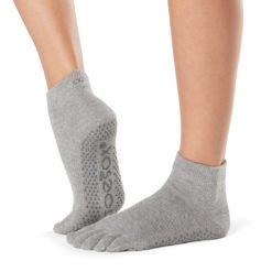chaussettes de pilates et yoga full toe ankle heather grey de toesox - Stelvoren