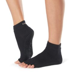 chaussettes antidérapantes Toesox Half Toe Ankle Black - Stelvoren