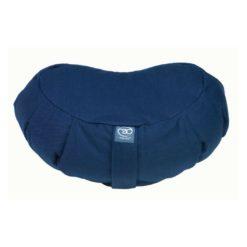 Grand coussin de méditation Zafu demi-lune plissé Bleu Marine