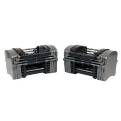 Les haltères ajustables Powerblock sport EXP90 comprennent deux poids additionnels de 1 kg par poignée pour les ajustements de poids de micro-charge