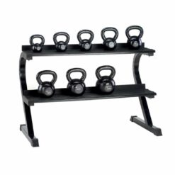 Notre rack pour kettlebells possède 2 niveaux de rangement
