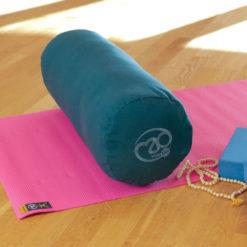 Bolster de yoga en coton biologique kapok vert bleu- Stelvoren