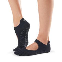 chaussettes à cinq doigts Full Toe Bellarina Black de Toesox - Stelvoren