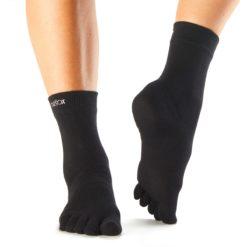 chaussettes à orteils séparés Casual crew black de Toesox - Stelvoren