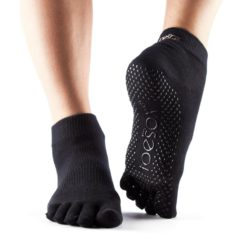 chaussettes-de-pilates-antidérapantes-toseox-full-toe-ankle-black