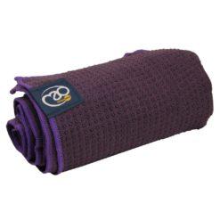 serviette tapis de yoga antidérapante aubergine - Yoga Mad