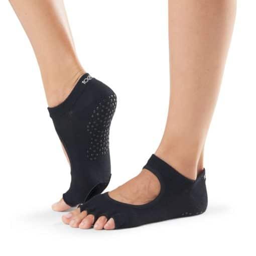 chaussettes de danse et de barre au sol Toesox Half Toe Plié Black - Stelvoren
