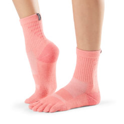 chaussettes de sport toesox mediumweight crew coral